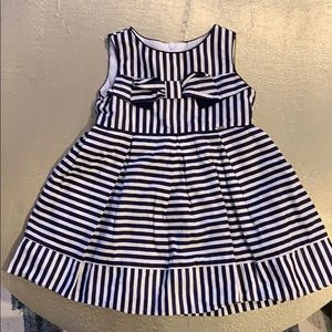 Mayoral Girls Navy and White Striped Dress